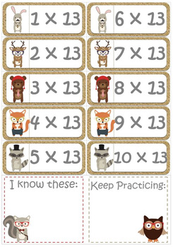 Funky Animals Times Tables Flash Cards Set for the 13 x Tables