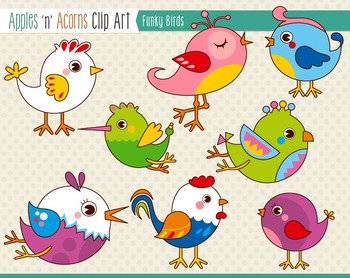 Funky Birds Clip Art - color and outlines