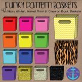 Funky Book Bins- Neon, Glitter, Animal Print and Chevron Baskets