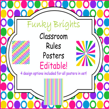 Funky Brights Editable Classroom Rules Poster Set