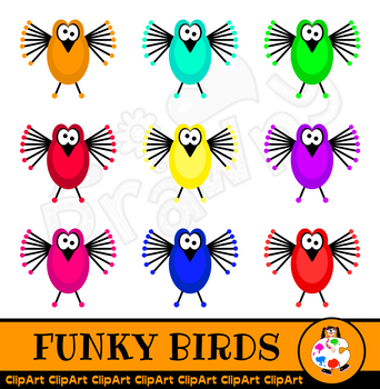 Funky Cartoon Bird Clip Art