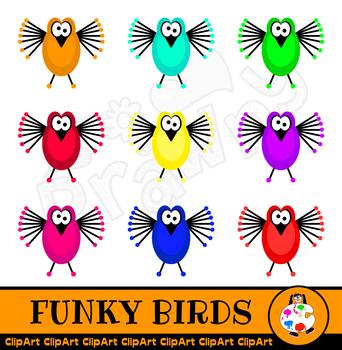 Funky Cartoon Bird Clip Art