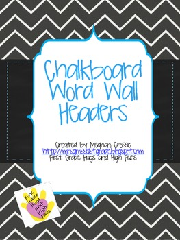 Funky Chalkboard Chevron Word Wall Headers