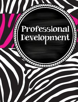 Funky, Cute Hot Pink and Zebra Teacher Binder with chalkboard