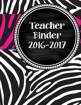 Funky, Cute Hot Pink and Zebra Teacher Binder with chalkboard