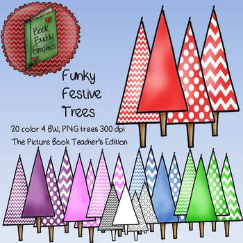 Funky Festive Trees Clip Art