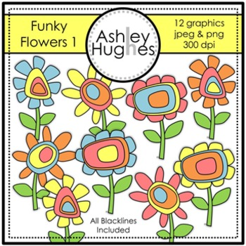 Funky Flowers 1 Clipart {A Hughes Design}