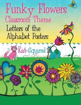 Funky Flowers Classroom Art - Alphabet Only