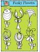 Funky Flowers {P4 Clips Trioriginals Digital Clip Art}