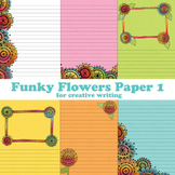 Funky Flowers Digital Printable Composition Paper 1