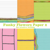 Funky Flowers Digital Printable Composition Paper 2