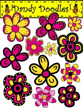 Funky Flowers Pink and Yellow Clip Art by Dandy Doodles