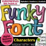 Funky Font Characters BUNDLE | Alphabet + Numbers + Symbol