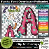 Funky Font Overlays: Polkadots | Alphabet + Numbers + Symb