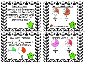 Funky Fraction Task Cards
