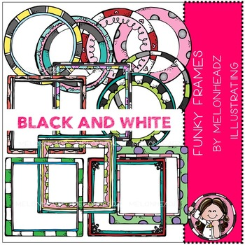 Funky Frames clip art - BLACK AND WHITE - by Melonheadz