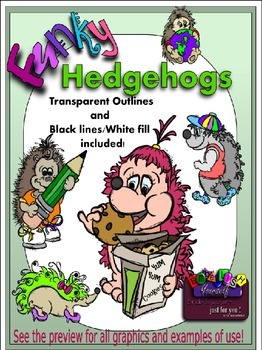 Funky Hedgehogs Clipart (9 FREE Elements Included) Embelli