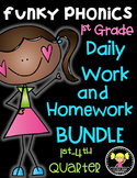 Funky Phonics: First Grade Homework Bundle {1st-4th Quarter}