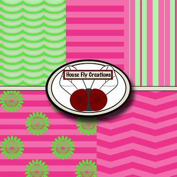 FREE Funky Pink and Green Digital Paper