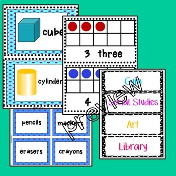 Classroom Organization Labels with Polka Dots: Colors, Shapes, Ten Frames & More