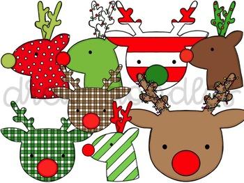 Funky Reindeer Digital Clip Art Set