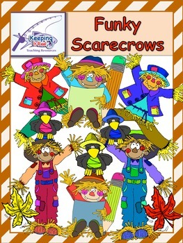 Funky Scarecrows (55 clip art images- 39 colored and 16 black-lines)