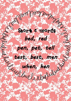 Funky Short E Vowel Poster