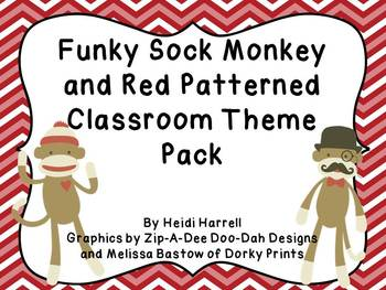 Funky Sock Monkey and Red Patterns  HUGE Classroom Theme Set