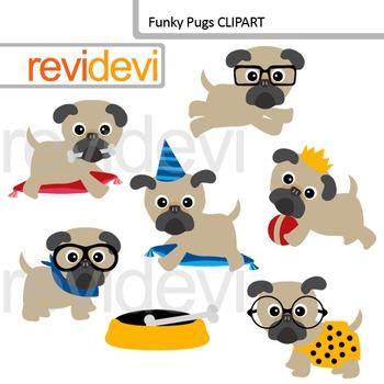 Funky pugs clip art