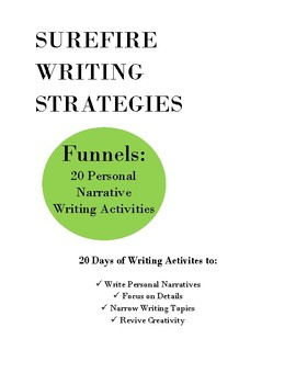 Funnels: Personal Narrative Writing Activities/Bell Ringers