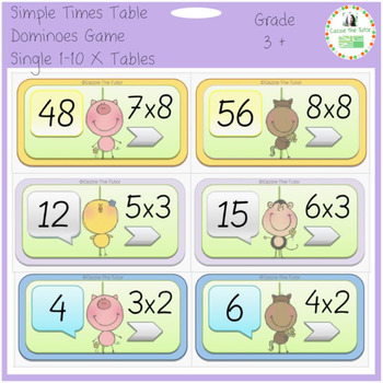Funny Animals Dominoes for the 1-10 x Tables: Single Times Tables, In Order