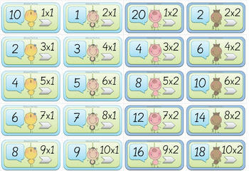 Funny Animals Dominoes for the 1-10 x Tables: Single Times Tables, Random Order