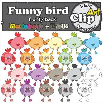 Funny Bird Rainbow Clip Art
