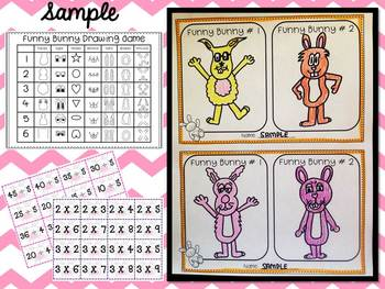 Funny Bunny Multiplication and Division Game- Art Integrated-Fun Math Center