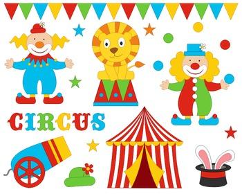 Funny Circus Digital Clip Art, Clowns Clipart