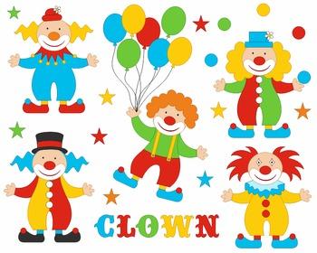 Funny Clowns Digital Clip Art, Circus Clipart