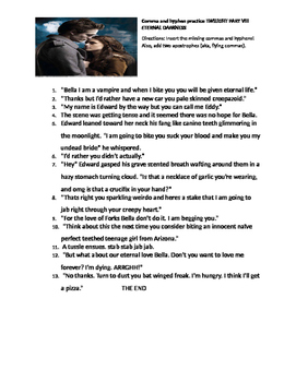 Funny Comma and Hyphen Worksheet: Twilight VII Eternal Darkness