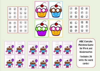 Funny Cupcake - ABC Matching/ Writing Game for Pre-k and K