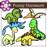 Funny Dinosaurs Digital Clipart (color and black&white)