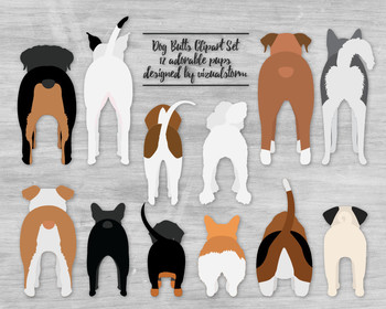 Funny Dog Butt Illustrations - 12 Doggy Behinds - Nothing Butt Cute!