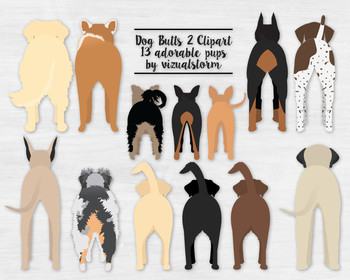 Dog Butt Illustrations V2 - 13 Doggy Behinds - Nothing Butt Cute!