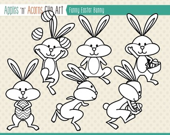 Funny Easter Bunny Clip Art - color and outlines