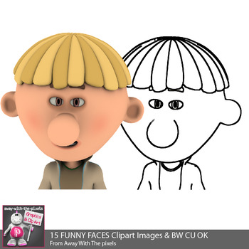 Funny Faces Clipart - 15 Kids Faces Color Clipart Images & BW Commercial Use OK