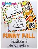Fall Multi-Digit Addition & Subtraction Task Cards with QR Codes