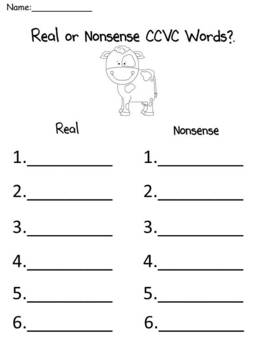 Funny Farm Animals - A Differentiated Nonsense or Real Word Sort