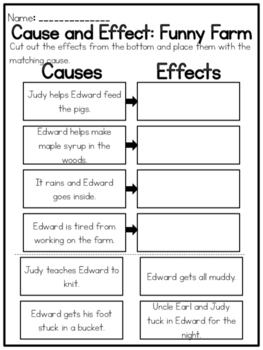 """""""Funny Farm"""" Cause and Effect Worksheet"""