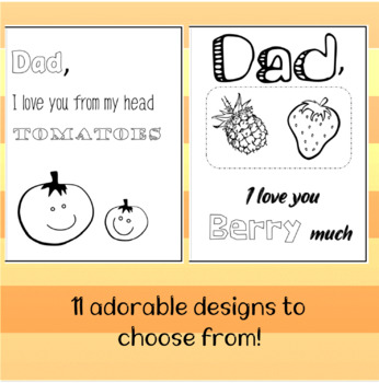 Funny Father's Day card template colouring in