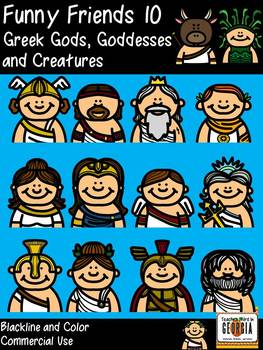 Funny Friends 10 Clipart Collection- Greek Gods, Goddesses, Monsters