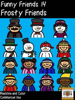 Funny Friends 14 Clipart Collection- Frosty Friends! Headshots