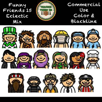 Funny Friends 15- Headshots- Eclectic Mix Clip Art Collection
